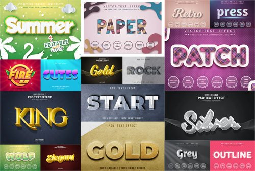 Text Effects Pack for Adobe Photoshop (PSD) & Illustrator (Ai-EPS)