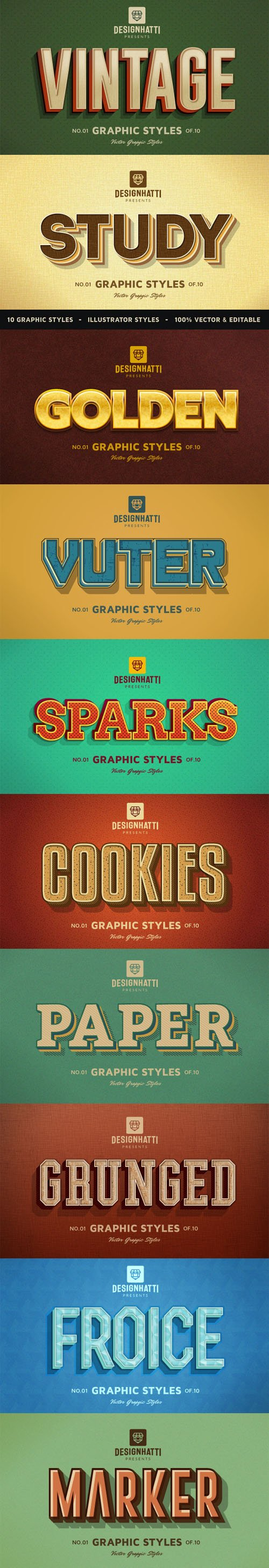10 Retro Vintage Illustrator Text Styles Vol.2