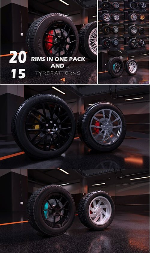 Sport Modern Car Wheels VR / AR / Low-poly - 3D Models [3ds Max]