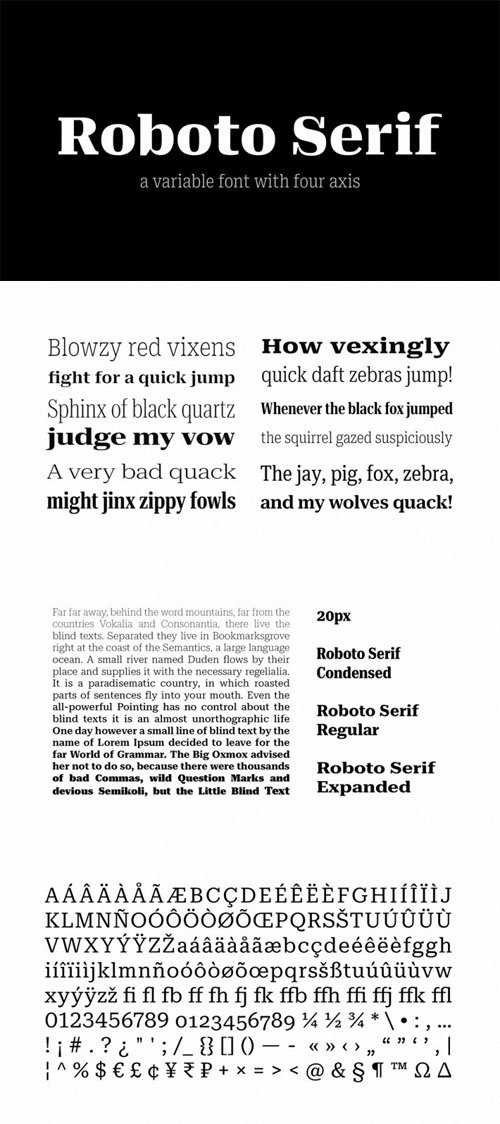 Roboto Serif - A Variable Display Serif Font with Four Axis [2-Weights]