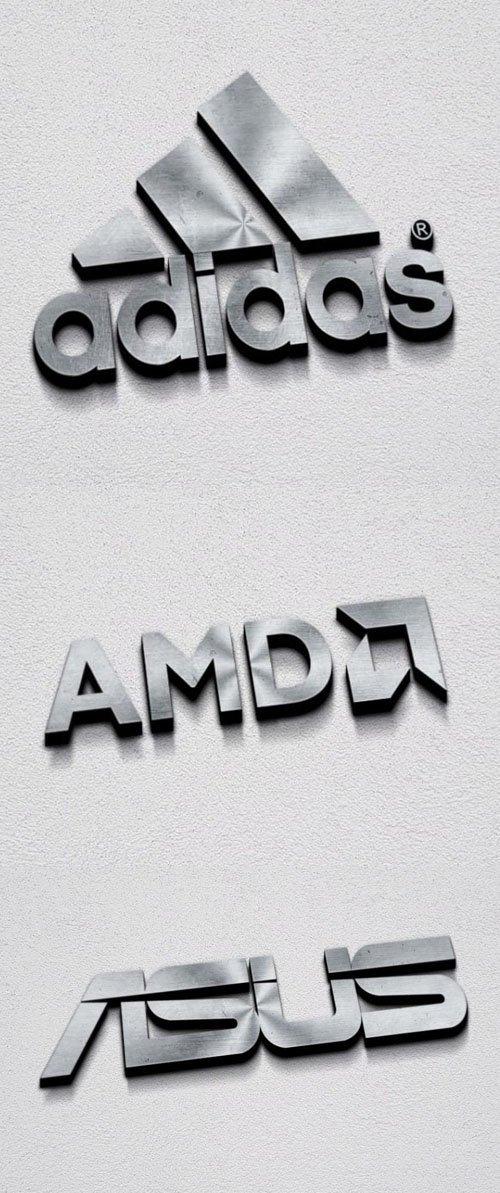 Silver 3D Metallic Logo PSD Mockup
