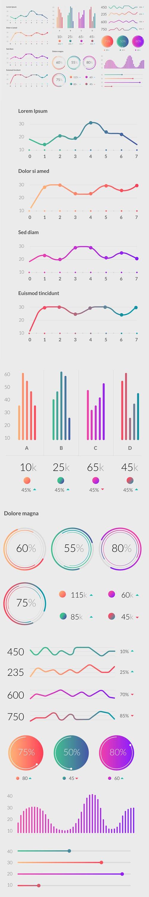 Gradient Infographic Elements Vector Templates