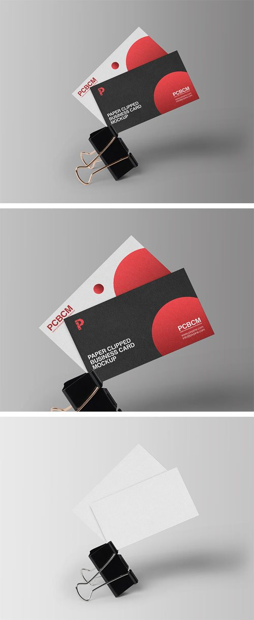Paper Clipped Business Card PSD Mockup
