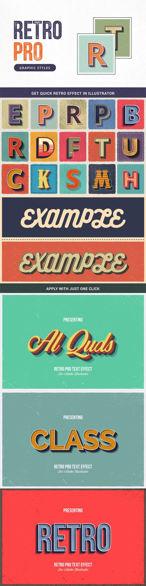 Retro Pro - 15 Graphic Styles for Illustrator