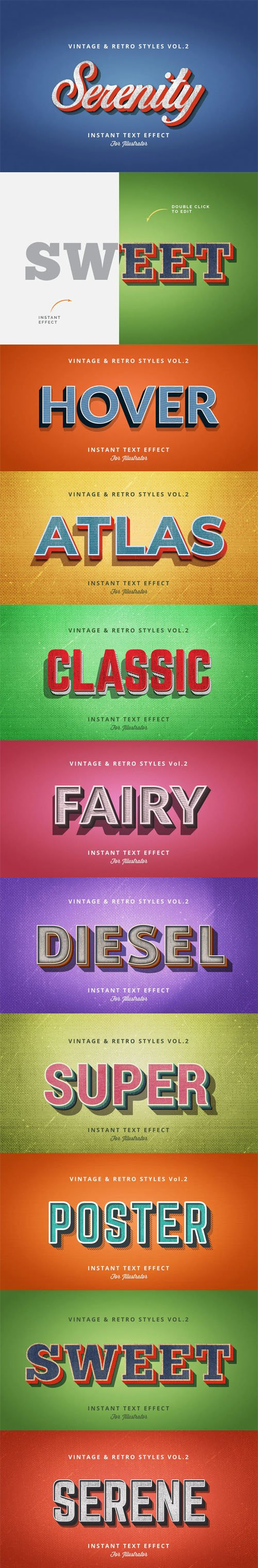 Vintage and Retro Graphic Styles Vol.2 for Adobe Illustrator