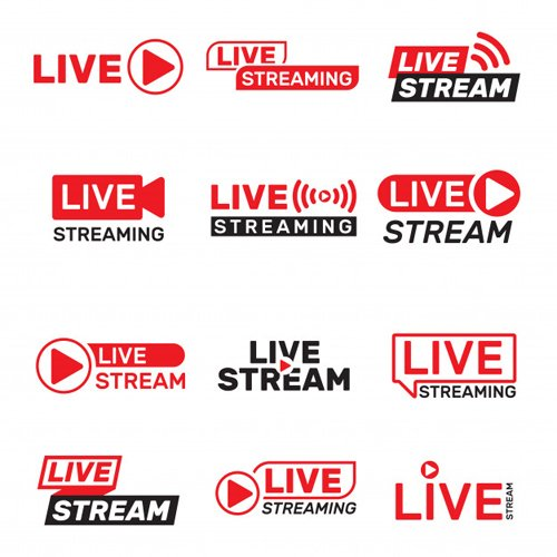 12 Live Stream Buttons Vector Templates