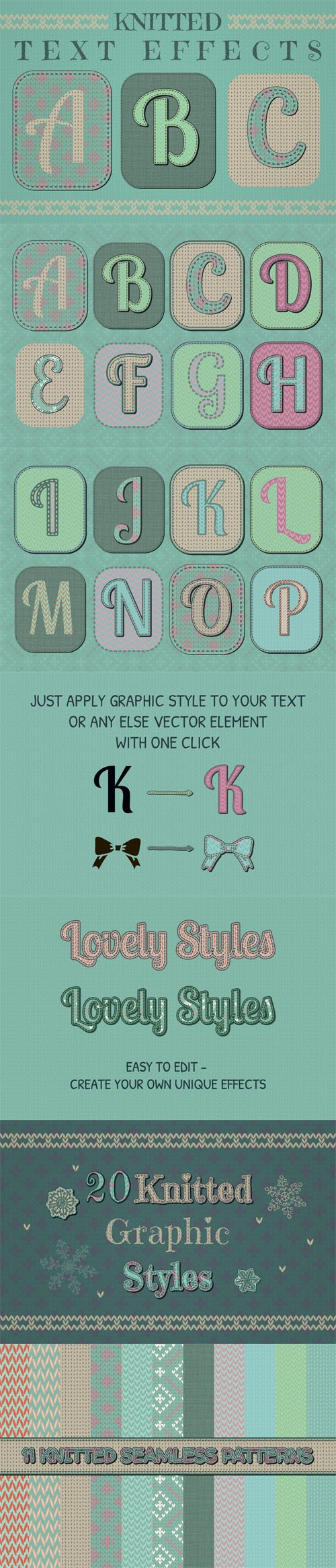 Knitted Text Effects - 20 Knitted Illustrator Graphic Styles