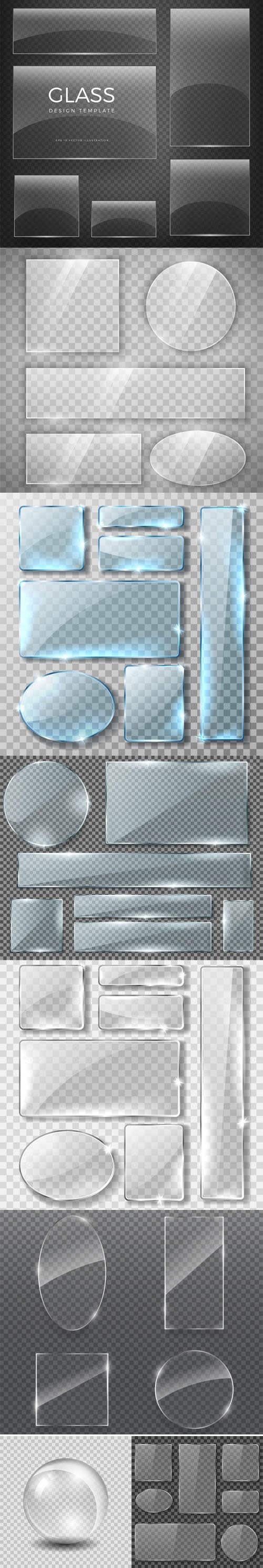 Realistic Transparent Glass Glossy Different Shapes in Vector