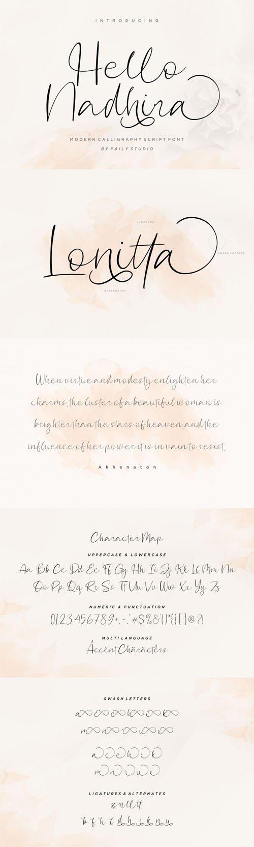 Hello Nadhira - Modern Calligraphy Script Font