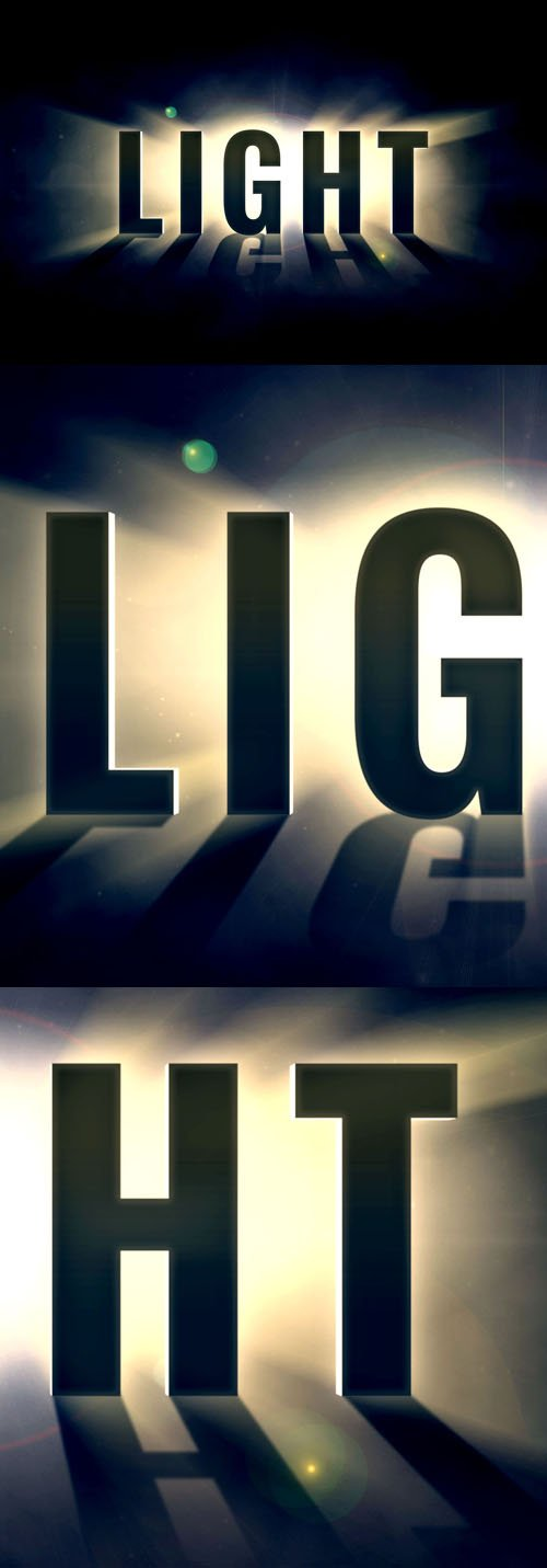 Light With Shadow Reflection - Photoshop Text Effect