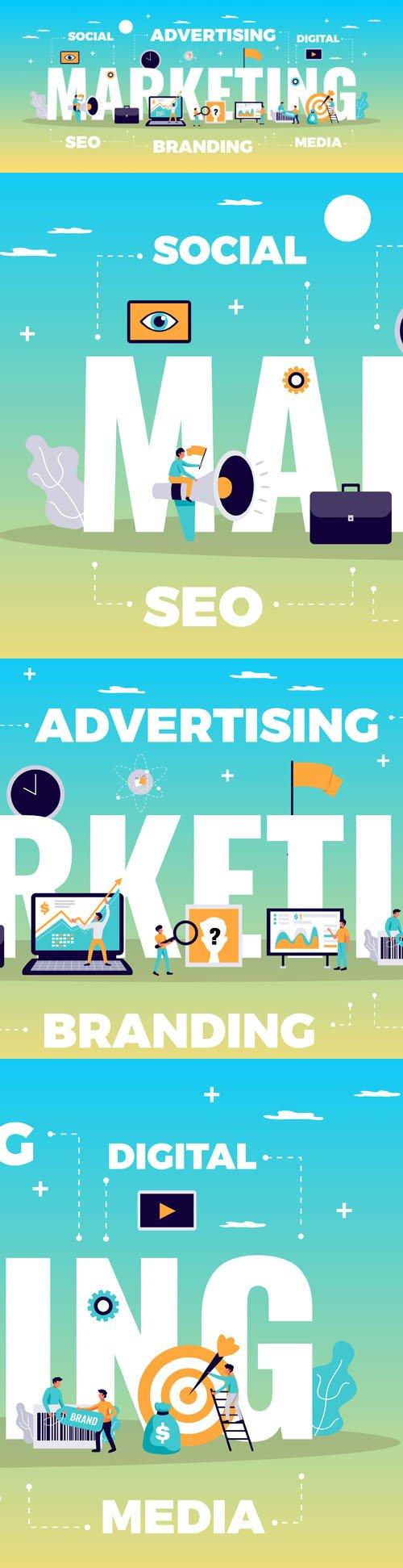 Digital Marketing Concept With Online Advertising Media Symbols Flat