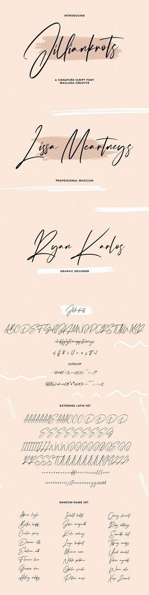 Jilliankrots Signature Script Font
