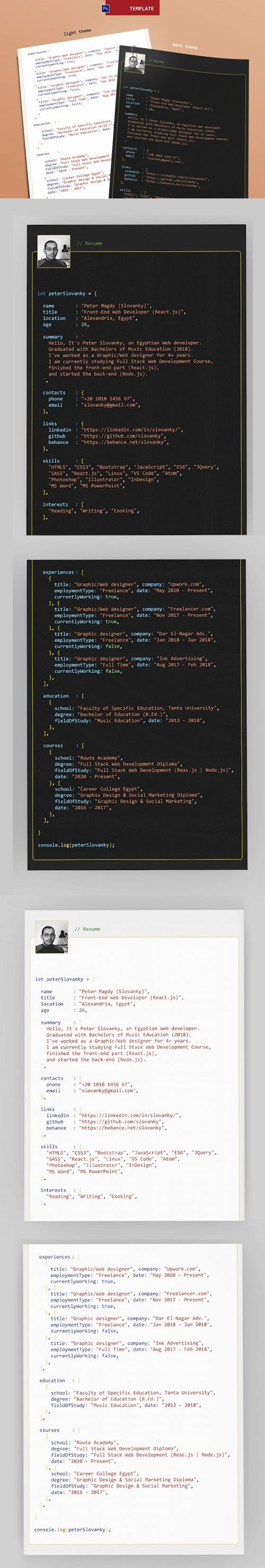 Resume CV Template for Programmers in PSD