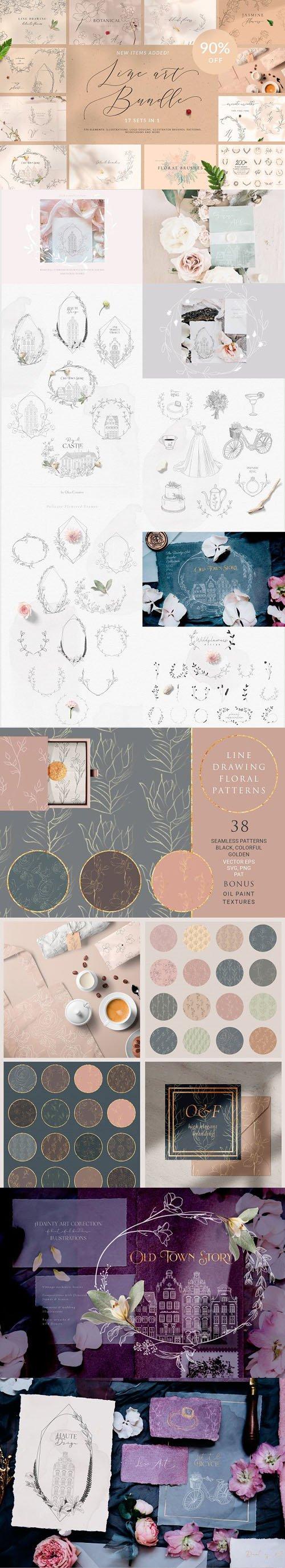 Line Art Bundle - Floral Graphic Templates - 12 Sets IN 1