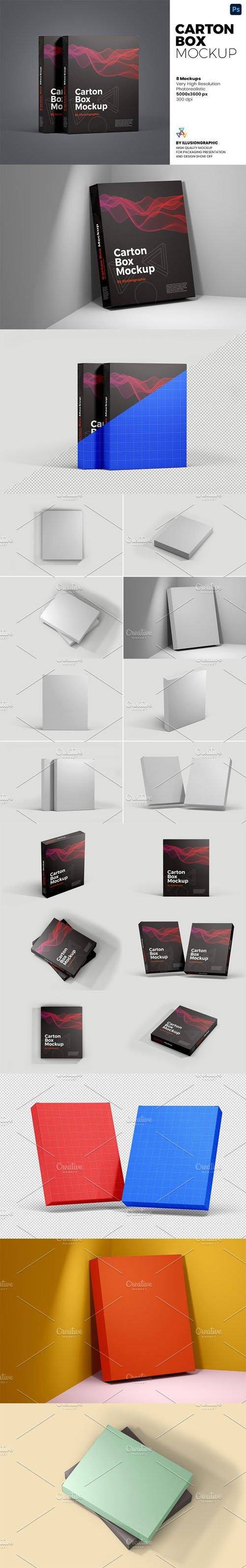 Carton Box PSD Mockups Templates - 8 Views