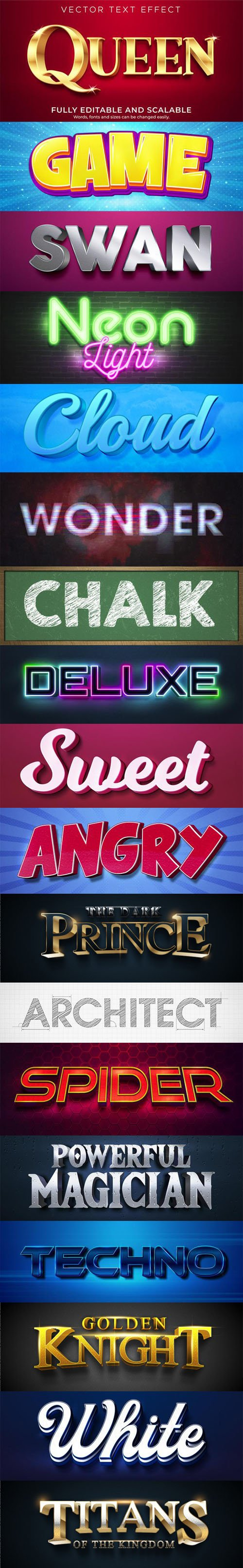 18 Text Effect Vector Templates - Text Styles Collection