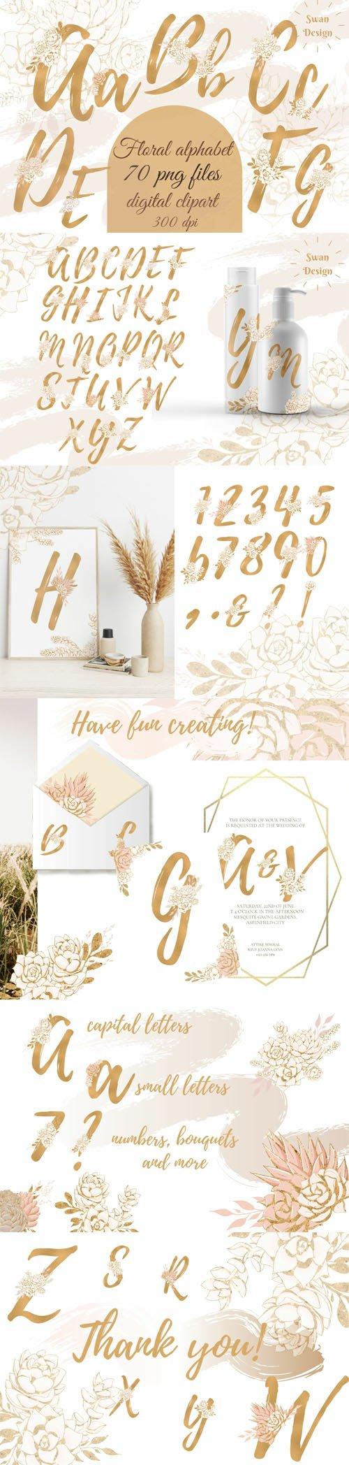 Gold Floral Alphabet - 70 PNG Files - Digital Clipart