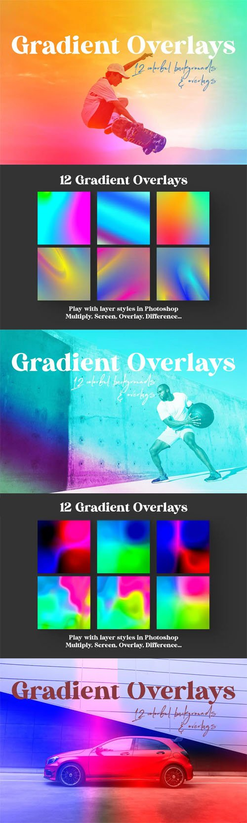 12 Colorful Gradient Overlays & Backgrounds