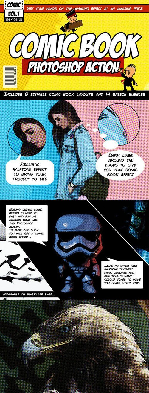 Comic Book Action Kit for Photoshop + InDesign Templates