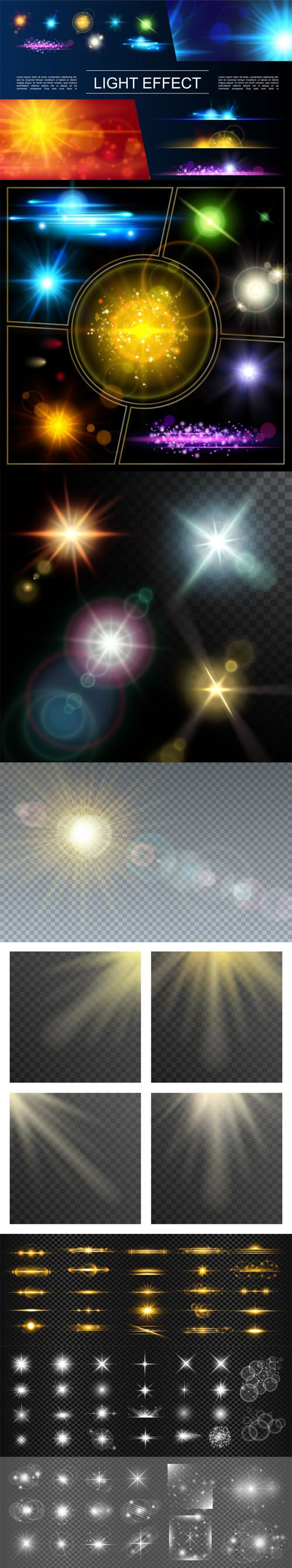 8 Realistic Light Effects Vector Templates
