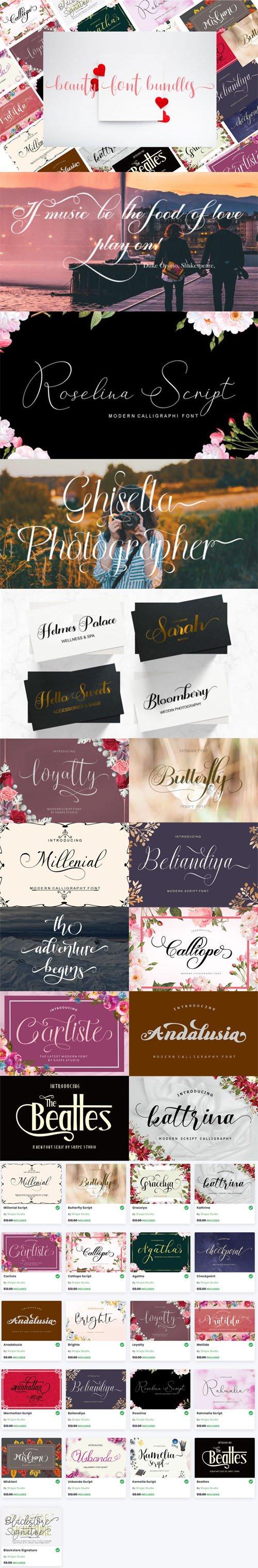 Beauty Font Bundles [21-Fonts]