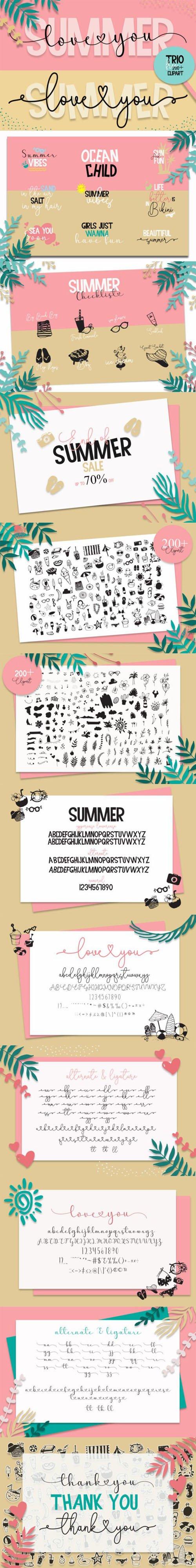 Summer Love You - Playful Duo Font [3-Weights] + Clipart Bonus