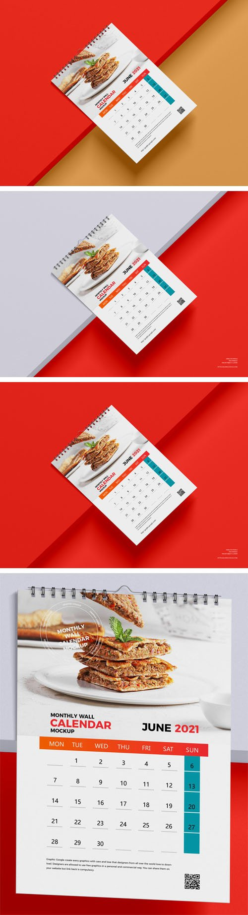 Monthly A3 Wall Calendar PSD Mockup Template