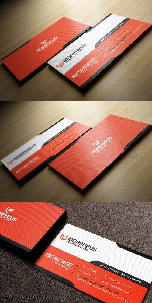 Orange Business Card PSD Mockup Template