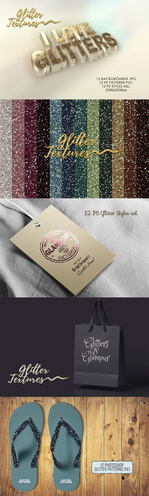 12 Glitter Textures Pack - Photoshop Styles & Patterns