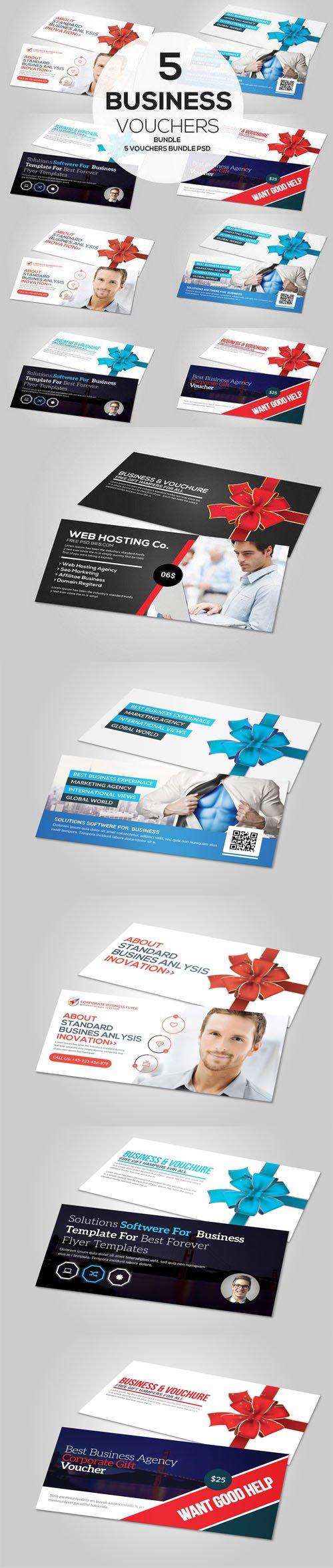 5 Business Vouchers Bundle - Gift Cards PSD Mockups Templates