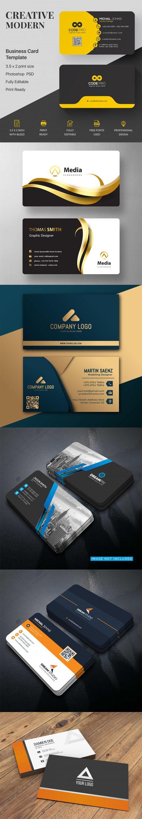 6 Professional Business Card Mockups Templates [PSD/Ai/EPS]