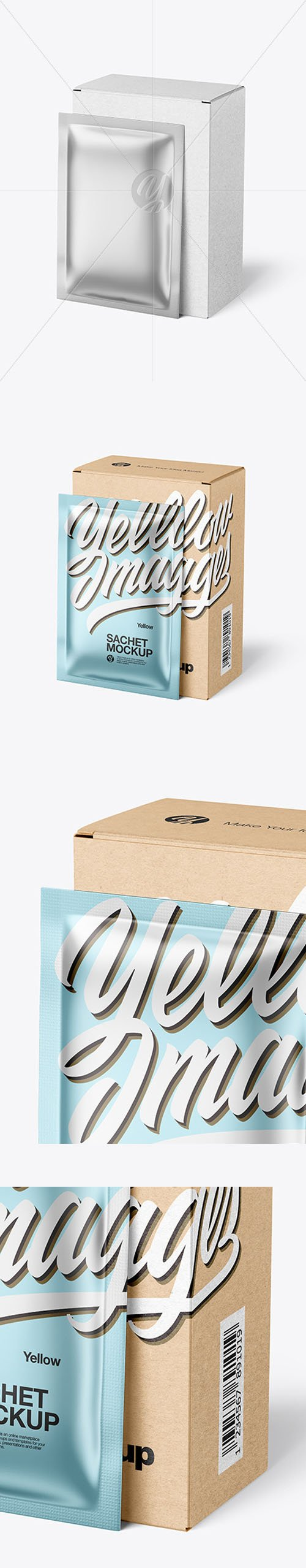 Kraft Paper Box with Metallic Sachet Mockup 46470