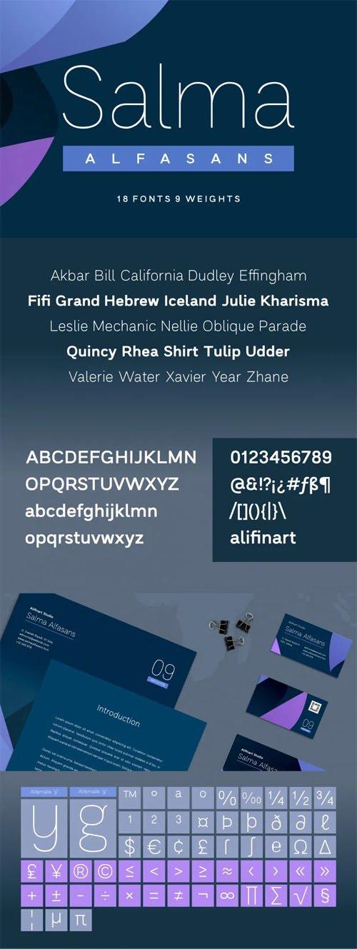 Salma Alfasans Sans Serif Font [18 Fonts / 9 Weights]