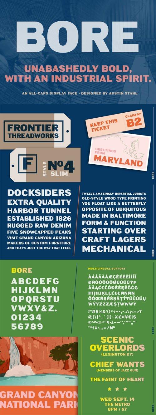 Bore - Bold Industrial Font - All Caps Display Sans Serif Font