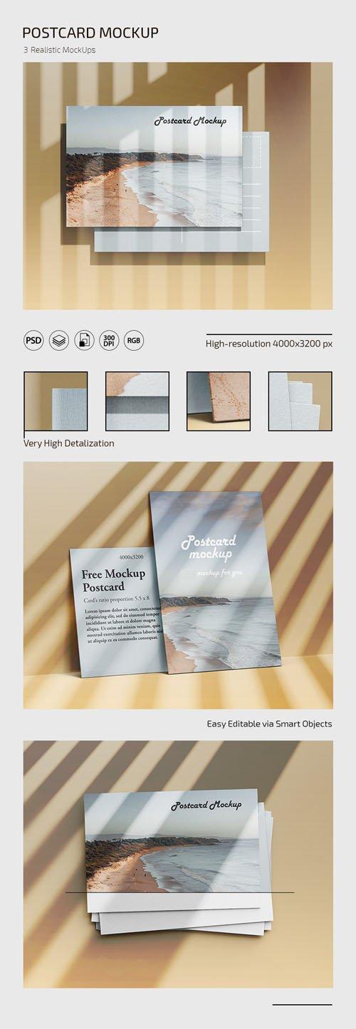 Postcard PSD Templates - 3 Realistic Mockups