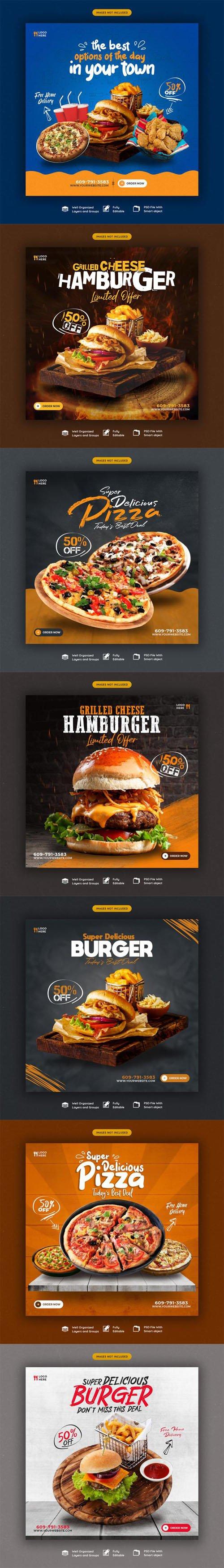 Delicious Food Menu & Restaurant Social Media Banners PSD Templates