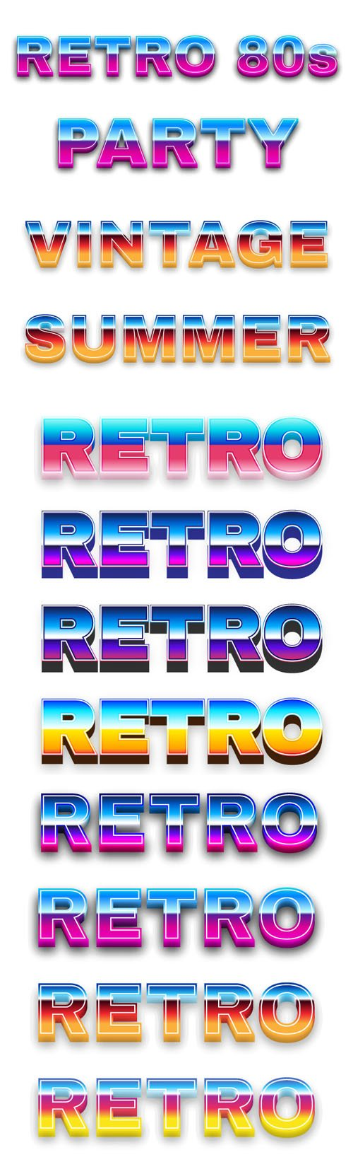 8 Colorful Neon Text Effects for Illustrator