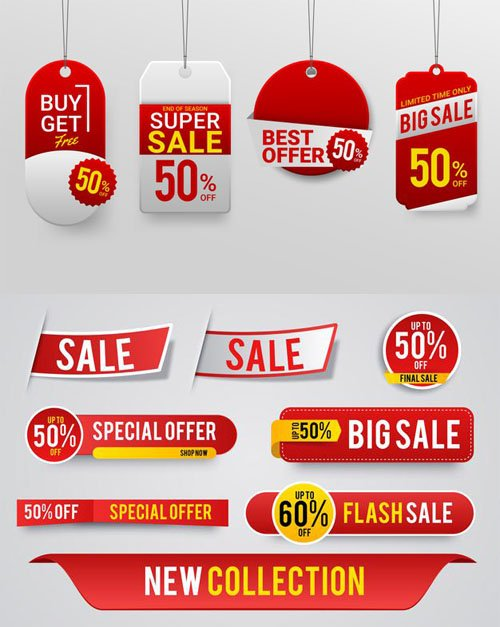 New Vector Collection - Modern Sale Labels, Stickers and Tags
