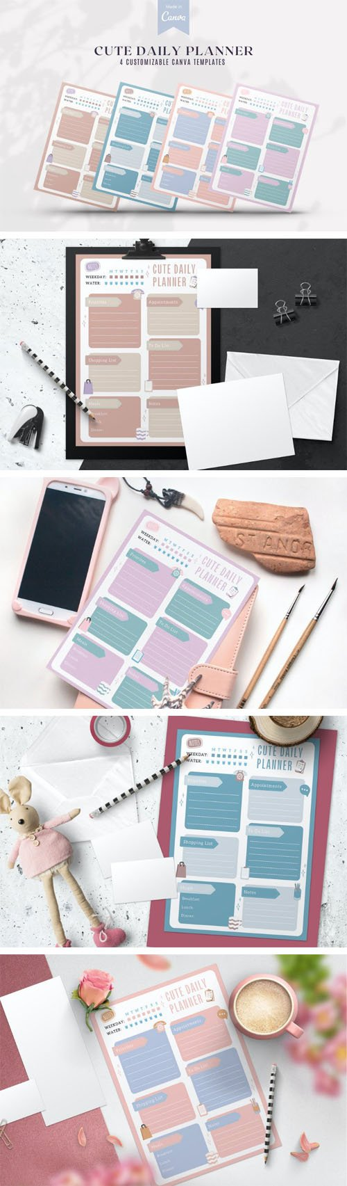 Cute Daily Planner - 4 Customizable Canva PDF Templates