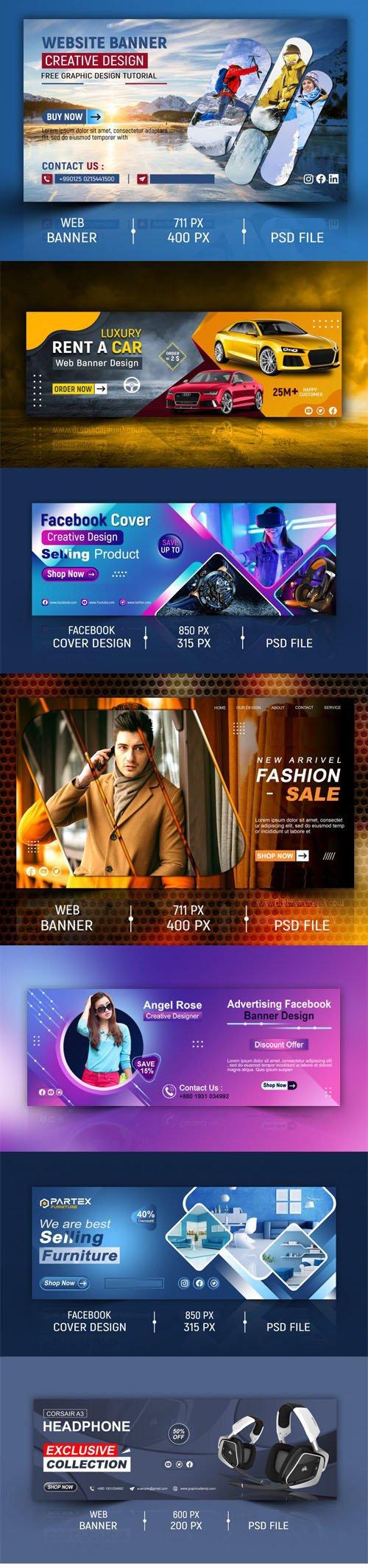 7 Web Banner & Facebook Cover Design Templates in PSD