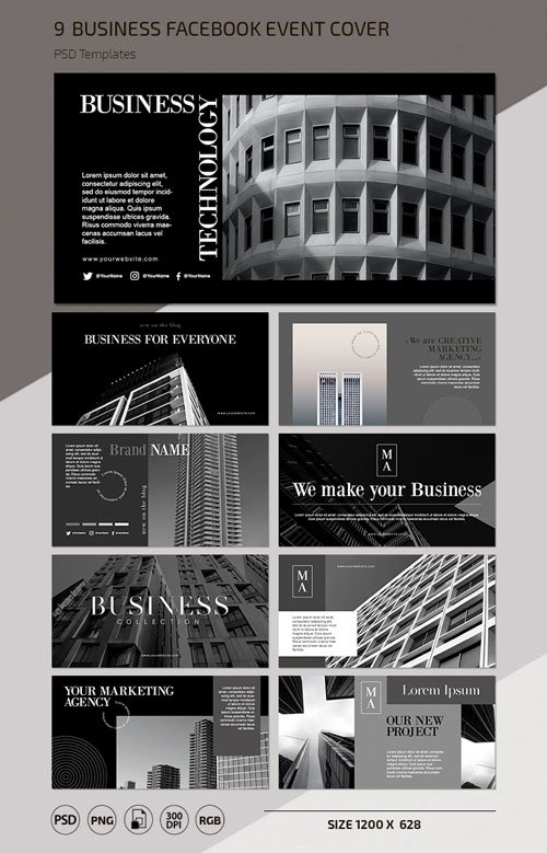 9 Business Facebook Event Cover PSD Templates