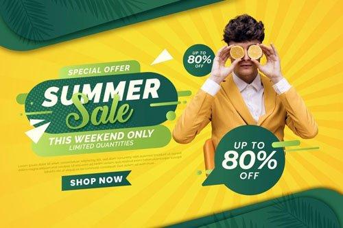 Summer Sale Banner Vector Template