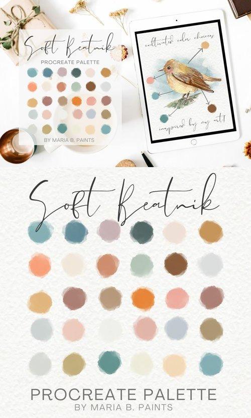 Soft Bohemian Beatnik Color Scheme Art - Procreate Palette [SWATCHES]