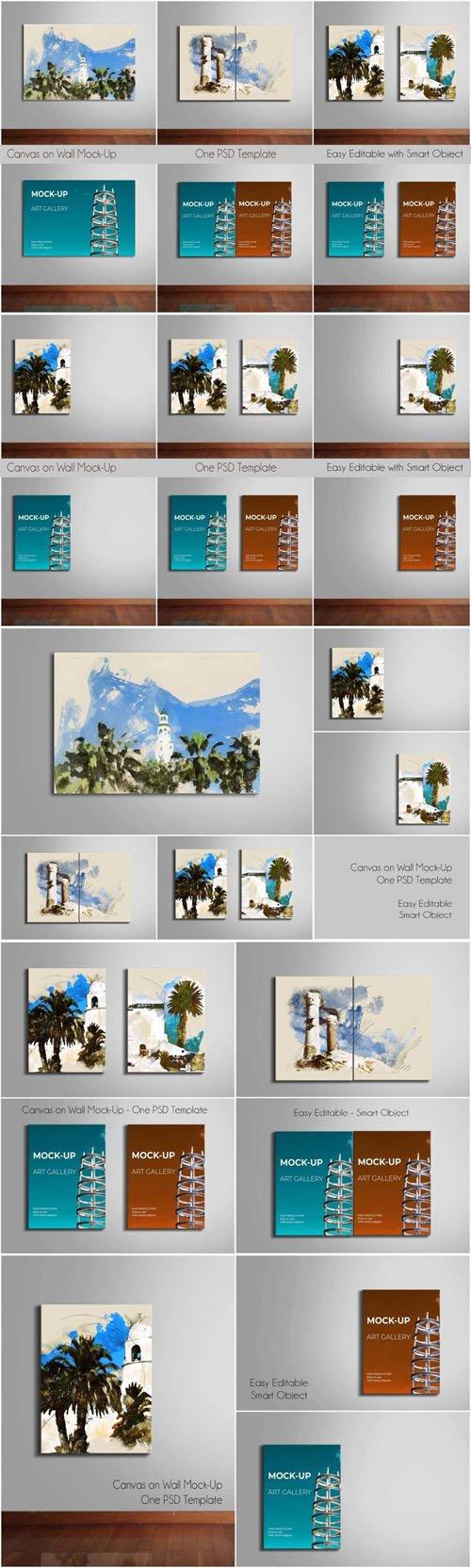 Canvas on Wall PSD Mockup Templates