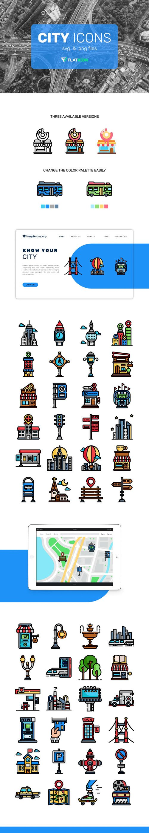 150+ City Icons in Vector