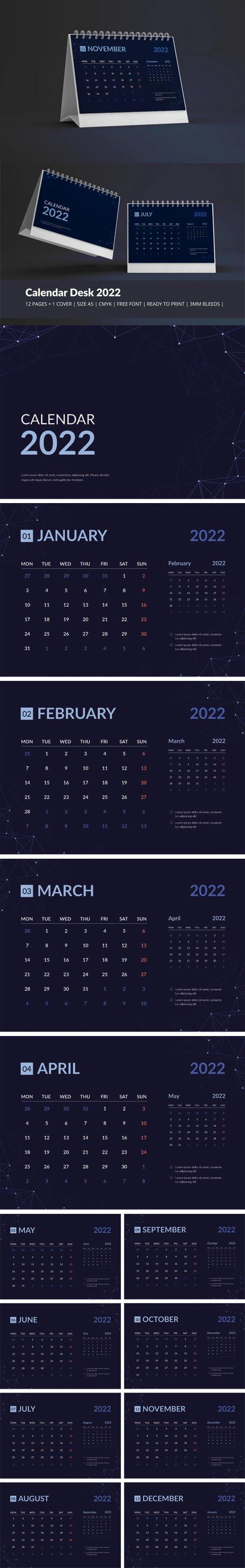 Galaxy Calendar Desk 2022 Theme Vector Template