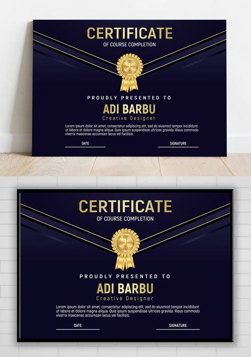 Certificate of Course Completion PSD Design Template