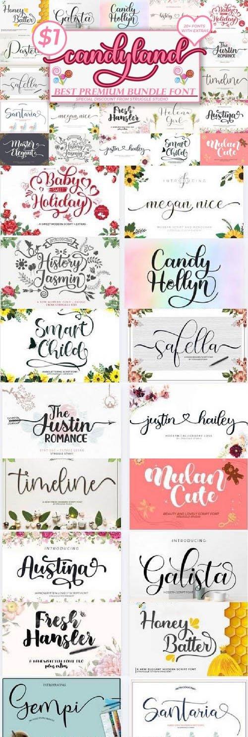 Candyland - Best Premium Font Bundle - 23 Premium Fonts