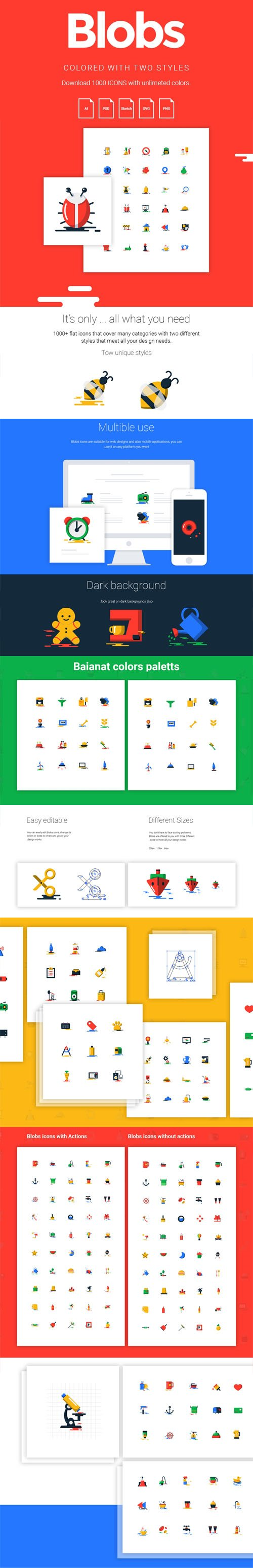 1000+ Blob Flat Icons [2 Styles]