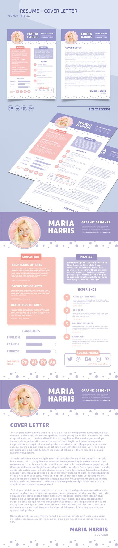 Cute Resume + Cover Letter PSD Templates